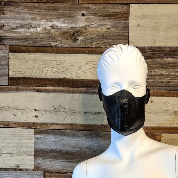 Hand Crafted Other - Black Leather Hand Stitched Face Mask NWT